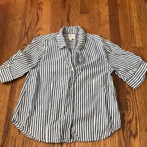 Jcrew button up grey and white striped shirt